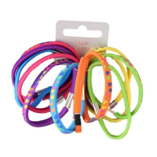 Heart Print Coloured Hair Elastics Bobbles